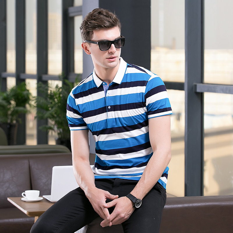 High quality 100% Cotton camisa Men Polo Shirt 2017 Casual Striped Slim short sleeves polo shirts for man