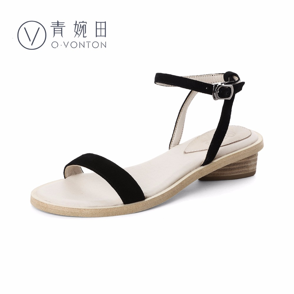 Q.VONTON Women Sandals 2017 New Fashion Ankle Strap Thick Heels Open Toe Suede Sandals Fashion Handmade Shoes With Ankle Buckle