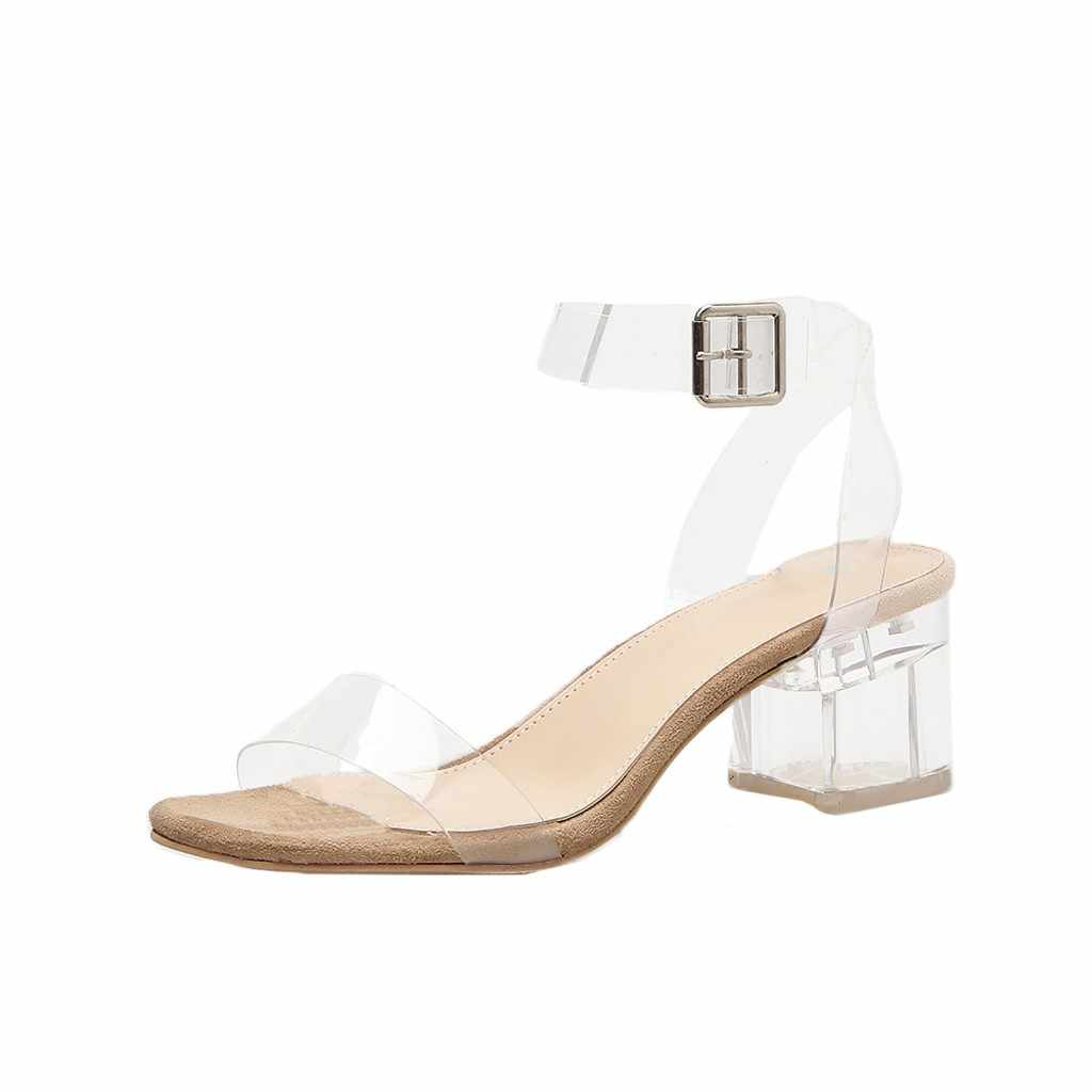 SAGACE ayakkabı 2019 yaz kadın toka kayış PVC şeffaf sandalet rahat kare topuklu düğün Zapatos de mujer Dropship May20