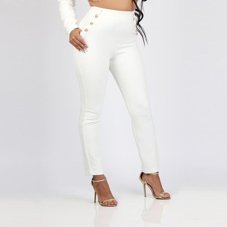 Black White Pants Suit Women Business Formal 2 Piece Pant Set Female (2)
