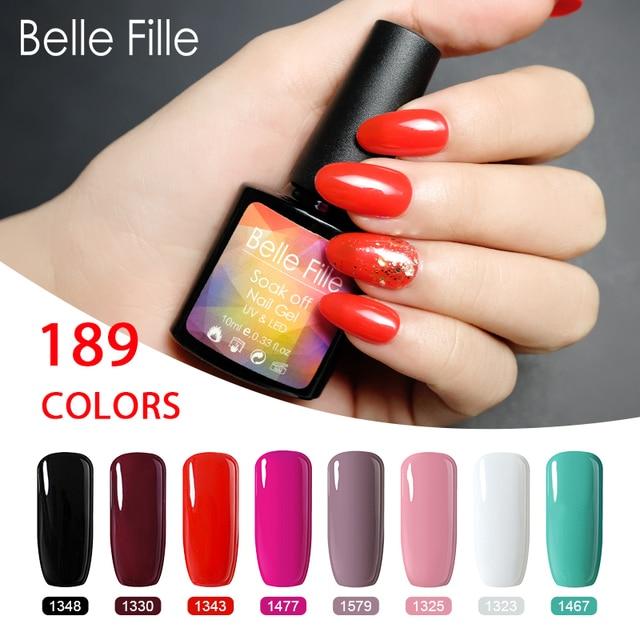 Belle Fille Wine Red Gel Nail Polish UV Varnish Soak Off Red Color Nail Gel Polish Vernis Semi Permanent UV Gel Nail Polish