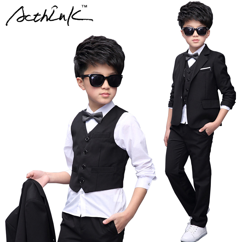 ActhInK New Boys 5PCS Blazer+Vest+Shirt+Pant Wedding Suit with Bowtie England Style Gentle Boys Formal Party Birthday Suit,MC226 acthink 2017 new boys 3pcs plaid formal wedding suit vest coat pant brand children party tuxedos performance wear for boys mc042