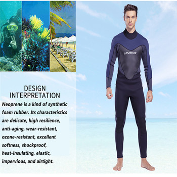 LIFURIOUS 3MM Wetsuits Diving Suit Neoprene Thick Warm Wetsuit Deep Snorkeling Conjoined Spot Surf Clothing