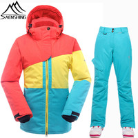 SAENSHING High Quality Ski Suit Women Super Warm Waterproof Snowboard Jacket Ski Pants Breathable Skiing Snowboarding Suits Lady