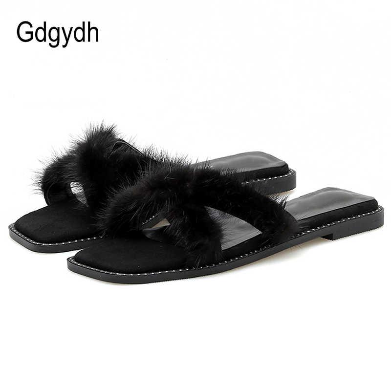 Gdgydh จริงแบนรองเท้าแตะผู้หญิงรองเท้าฤดูร้อนนอกรองเท้าแตะเลดี้รองเท้าชายหาดลำลอง Streetwear สีดำ Apricot Slip บนราคาถูก