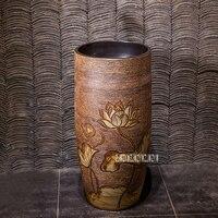 High quality Ceramic Art Basin Household Bathroom Vertical Wash Basin Floor Type Courtyard Outdoor One piece Pedestal Washbasin
