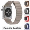 Alta qualidade 100% pulseira de couro genuíno faixa de relógio pulseira para apple watch laço fecho magnético couro banda iwatch 38mm 42mm