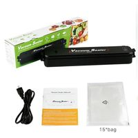 1 Set Automatic Vacuum Sealer with 15pcs Bags Portable Home Mufti function Cooking Foods Saver Preserve Saran Wrap Kitchen Tool