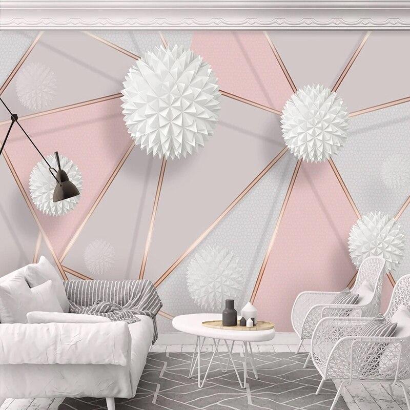 Custom Self-Adhesive Mural Wallpaper Modern Stereo Ball Geometric Marble Texture Photo Wall Paper Living Room Bedroom Home Decor
