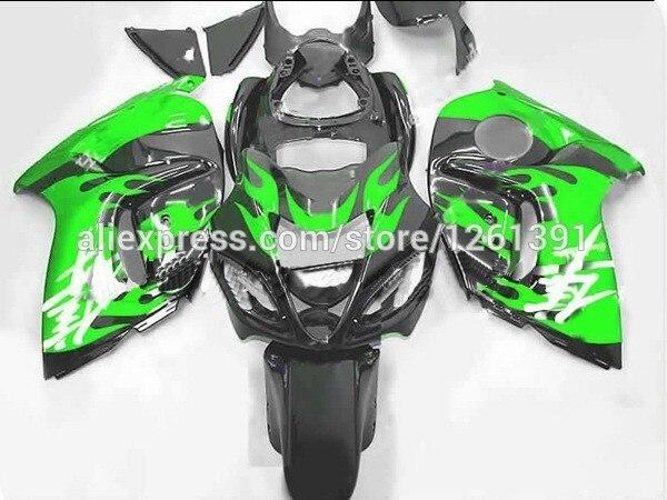 Подходит для черно-зеленые языки пламени Обтекатели для Suzuki Hayabsa GSXR1300 2008 2009 GSX-R1300 GSXR 1300 08 09 обтекатель комплекты# GG6Y1