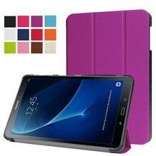 """Ultra Delgado Custer 3-Folder Folio Soporte de LA PU Caso de la Cubierta Magnética para Samsung Galaxy Tab 10.1 2016 T580 T585 10.1 """"Tablet"""