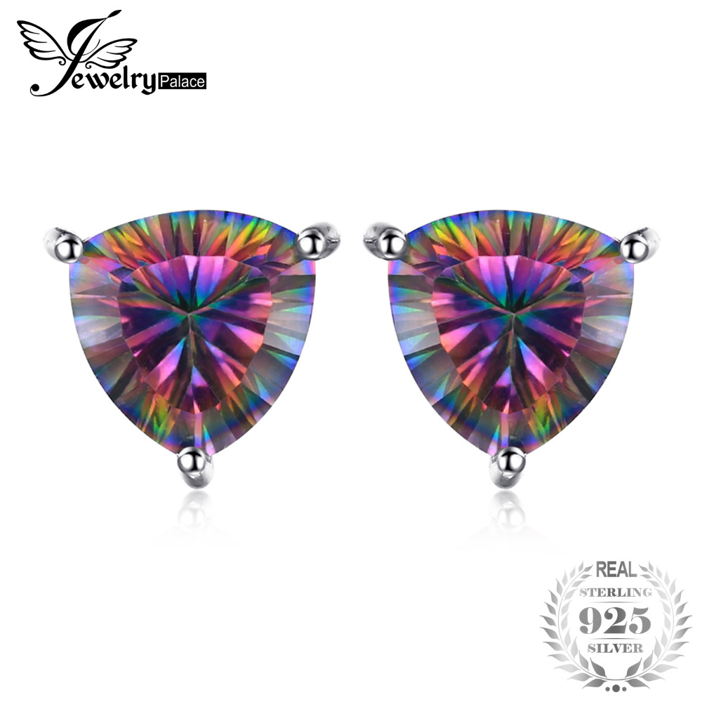 JewelryPalace 925 Pure Sterling Silver 4.5ct Genuine Nature Rainbow Fire Mystic Topaz Stud Earrings Multicolor Trillion Gift