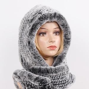 Image 2 - 2020 novas mulheres de inverno real pele chapéu + cachecóis feminino malha natural rex pele de coelho com capuz cachecóis quente malha genuína capas de pele cachecol
