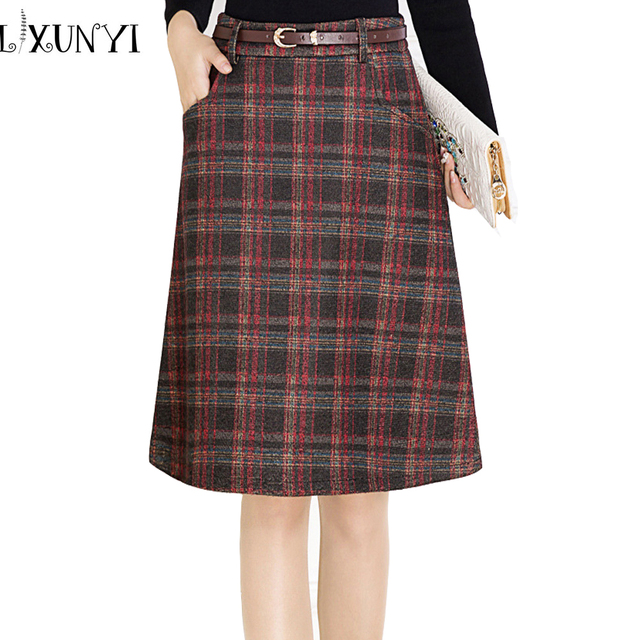 24fd1e71f8479f Women's Classic Woolen Plaid Skirt 2019 Autumn Winter High Waist Elegant  A-line Midi Skirt Package With Belt Plus Size 4XL