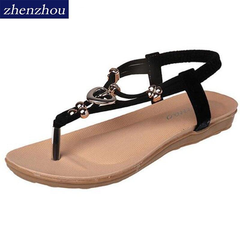 Livraison gratuite!! été 2016 Flip Flops Femmes chaussures de Bohème fille sandale string perlé boucles en métal tongs chaussures de plage