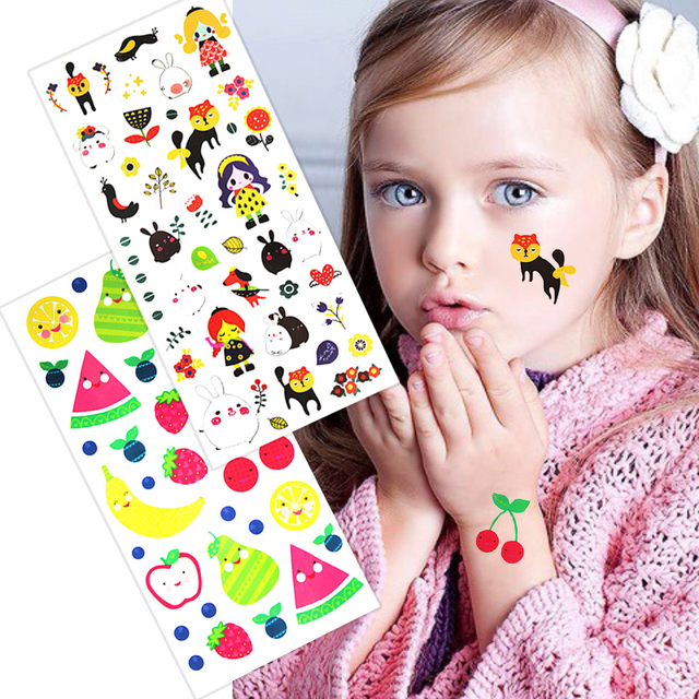 2pcs Temporary Tattoo lovely Girls Cat Fruit Apple Flower Colorful ...