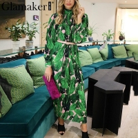 Glamaker Print long sleeve shirt pleated dress Women loose boho dress beach Summer slim sexy club elegant dress vestidos