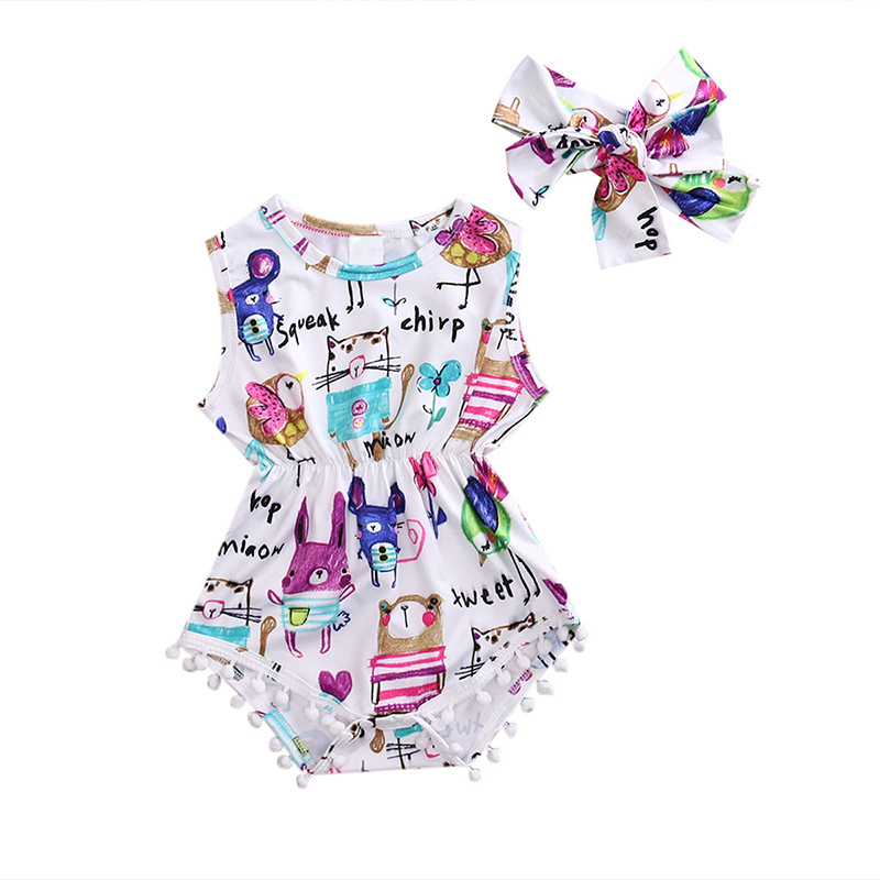 Newborn Romper Baby Girl One-piece Tassel Sleeveless Jumpsuit Carton Printed Infantil Toddle Body Baby Girls Kids Clothes D10
