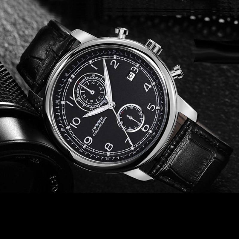 SINOBI Relogio Masculino Men's Military Sports Chronograph Wrist Watches New Arrival 2017 Leather Quartz-watch Golden Mens Clock