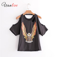 2018 New Fashion Women Sexy Off Shoulder Flying Eagle Printing T-shirt Leisure Summer Hollow Out Tees Causal Slim T Shirt