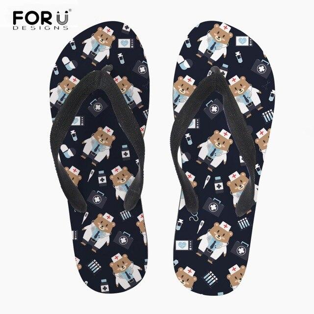 26111f1c5dadcb FORUDESIGNS Women Fashion Slippers Pediatrics Doctor Cute Cartoon Bear Print  Casual Summer Beach Flip Flops Girls Sandals Shoes