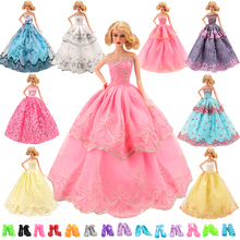 Doll Accessories Set 16 Items/Set=6 Dresses Random Pick +10 Shoes Gown Princess Cute Outfit Clothes For Barbie Doll Girls' Gift цены