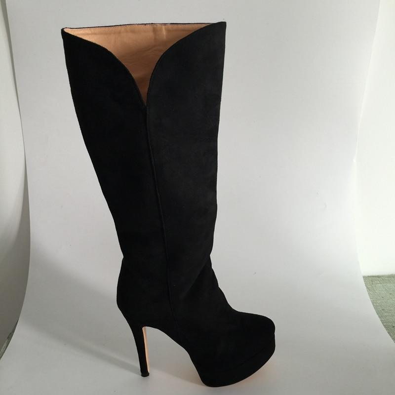 Черные замшевые сапоги до колена на платформе, модель 2015 года, женские сапоги ручной работы на шпильке с боковой молнией, изготовленные под