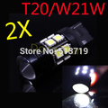 2X T20 7440 W21W 5050 12W CREE Chip R5 LED Car External Light Brake Light Warning Light Source Xuenon Lamp Auto DRL Car Styling