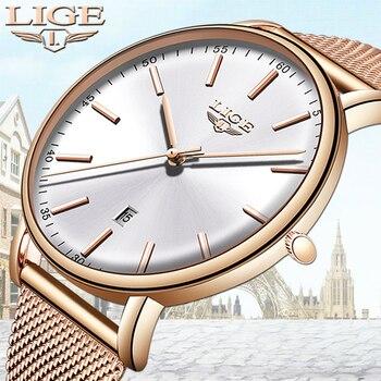 LIGE Womens Watches Top Brand Luxury Waterproof Watch Fashion Ladies Stainless Steel Ultra-Thin Casual  Wristwatch Quartz Clock дамски часовници розово злато