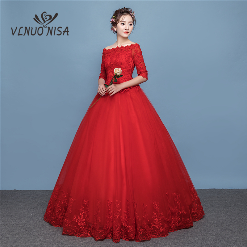 Fashion Red Lace Applique Wedding Dresses 2018 Plus Size Ball Gown Half Sleeve Lace Up Floor-length Sexy Boat Neck Illusion