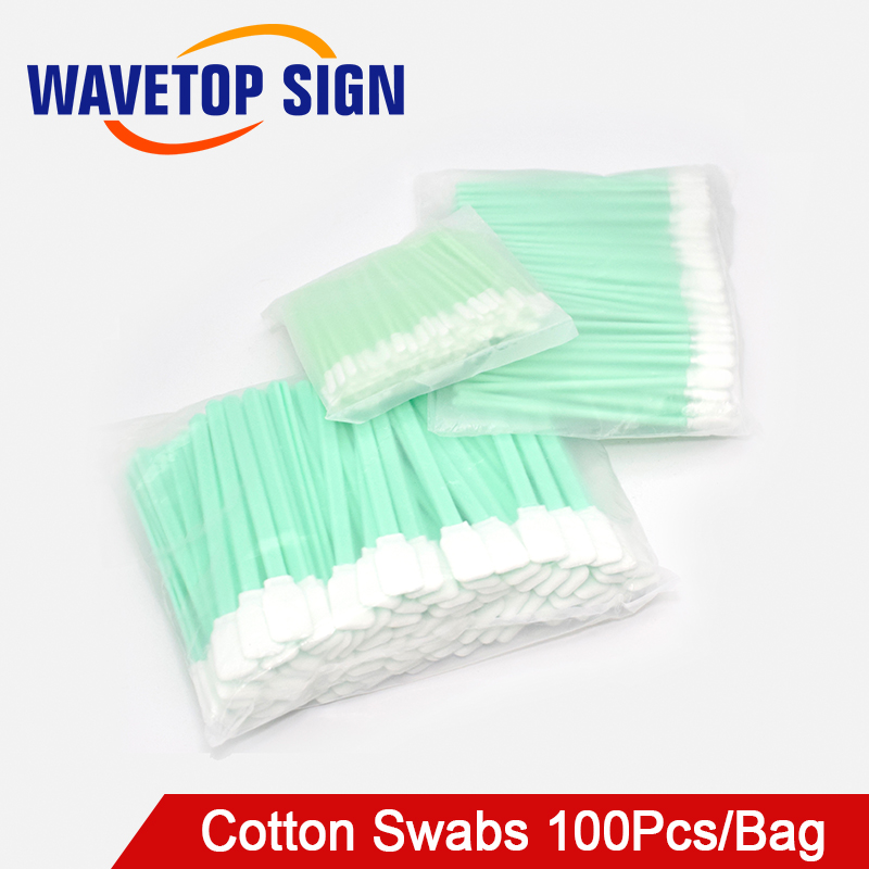 100Pcs/Bag Non Woven Cotton Swabs Dust-free Anti-static Cleaning Q-tips For Fiber Laser Machine Focus Lens Protection Windows