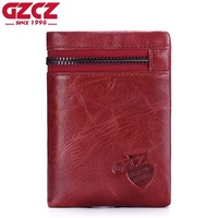 ESIPOSS Genuine Cowhide Leather Men Wallets Fashion Black Purse With Zipper Coin Pocket Vintage Card Holder