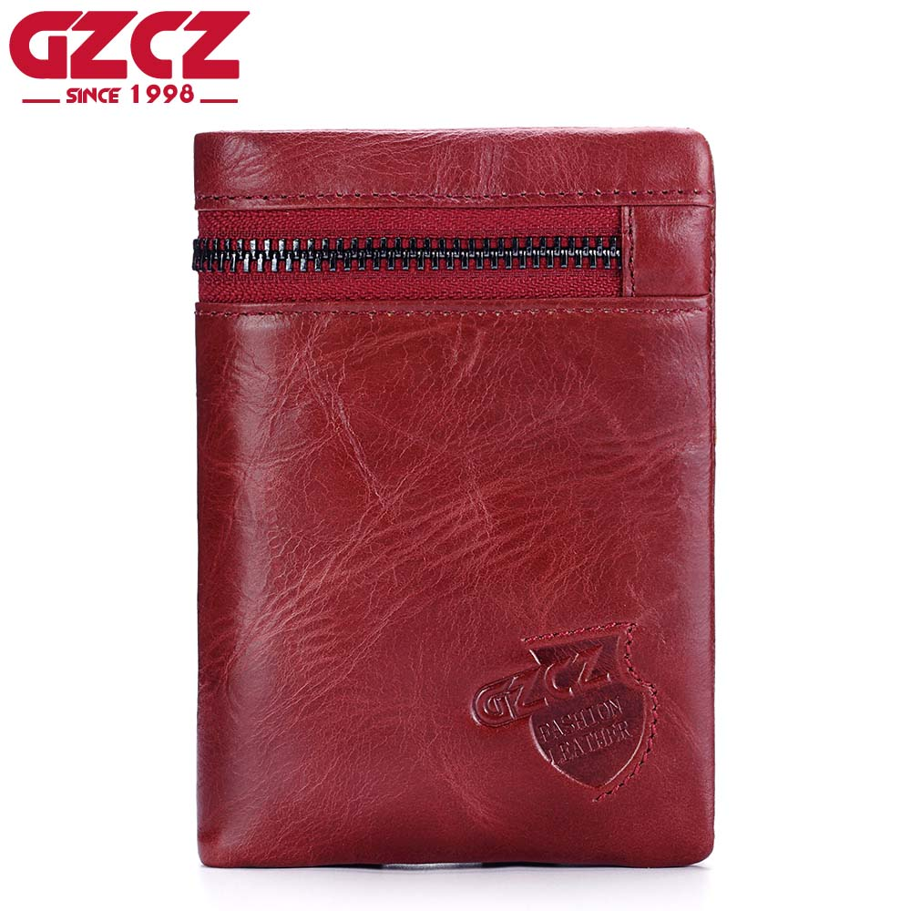 GZCZ Luxury Brand Coin Purse 2017 Fashion Red Wallet Female Genuine Leather Women Walet Money Bag