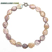 unusual baroque pearl necklace peach purple Good gloss big size for women flat oval shape natural cultured Rainbow charm