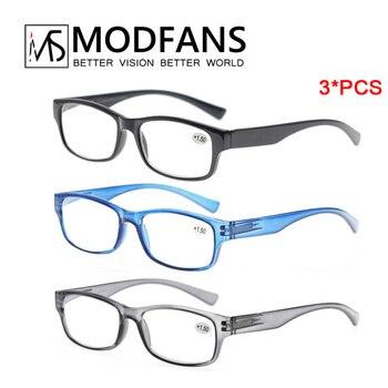 3*pcs Reading Glasses Men Women Rectangular Eyeglasses With Light Brand Reader Presbyopic Glasses Mens Diopter +1.0 1.25 1.75 2
