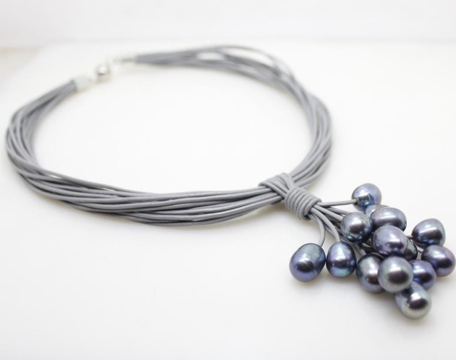 01-12mm Real Black Freshwater Pearl Pendant Necklace Leather Cord Magnet Clasp Fashion Jewelry