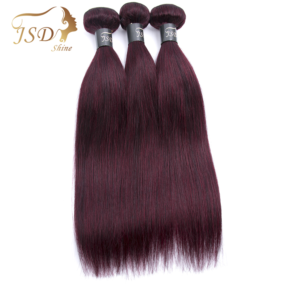 JSDShine Brazilian Hair Straight Burgundy 99J Red Color Human Hair Weave Bundles Double  ...