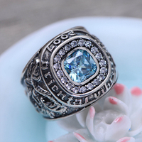 MetJakt S925 Sterling Silver Blue Topaz Ring & Hand Carved Dragon and Tiger Rings for Men Vintage Thai Silver Fine Jewelry