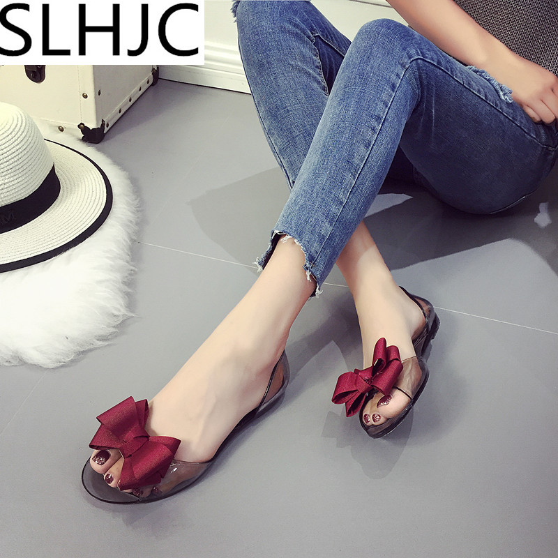SLHJC 2017 Summer Crystal Jelly Shoes Female Sweet Open Toe Flat Heel Casual Beach Sandals Flats Women Shoes With Bow