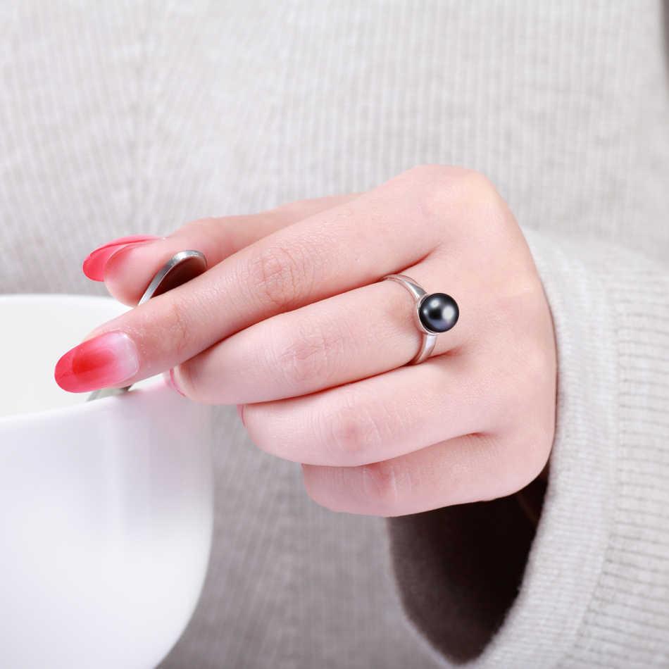 Classic 925 เงินสเตอร์ลิงเพิร์ลแหวนผู้หญิงเครื่องประดับของขวัญ 8-9 มม. ไข่มุกน้ำจืดเครื่องประดับขายส่ง FEIGE