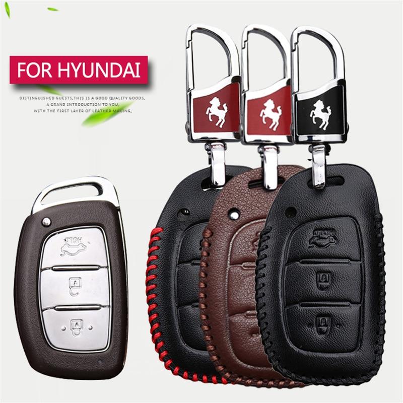 Car Smart Key Shell Key Case Cover For Hyundai Hb20 I30 IX20 IX25 IX35 Solaris tucson 2017 3 Buttons Real Leather Key chain Case