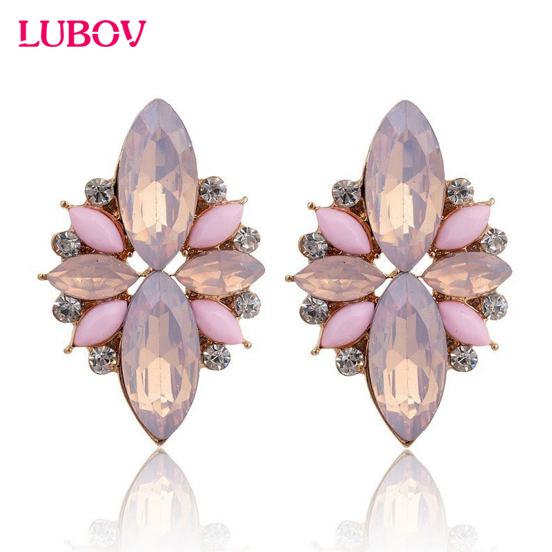 2017 New Elegant Opal Stone Stud Earrings Crystal Earrings for Women Trendy Gold Color Fashion Earrings