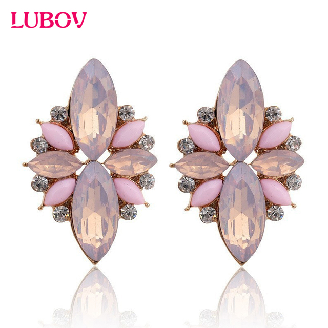 2018 New Elegant Opal Stone Stud Earrings Crystal Earrings for Women Trendy Gold Color Fashion Earrings