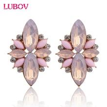 LUBOV 2018 New Elegant Opal Stone Stud Earrings Crystal Earrings for Women Trendy Gold Color Fashion