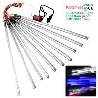 Comprar Impermeable LED luces de Navidad 10 unids/set SMD3528 tubo de nieve 50cm lluvia de meteoros Led tubo de luz para la decoración de Navidad al aire libre