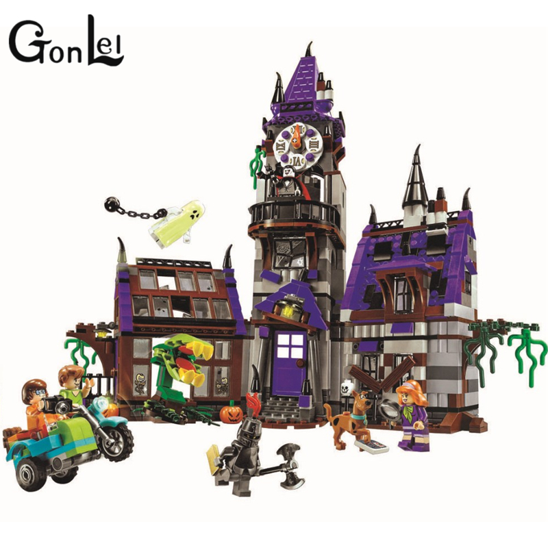 GonLeI Bela 10432 860pcs Scooby Doo Mysterious Ghost House Building Block Toys Compatible Any Blocks Lepin bela 10429 scooby doo mummy museum mysterious plane minifigures building block minifigure toys best legoelieds toys