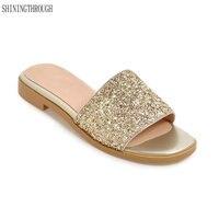 New Flat Women Shoes Women Casual Sandals Stilettos Low Heels Slippers Summer Slides Black White Gold