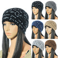 Moda Otoño Invierno Cálido Unisex Cartas Impresiones de Algodón Punto Hat Caps Beanie Sombrero de Hip-Hop Del Cráneo de Las Mujeres gorros capo femme
