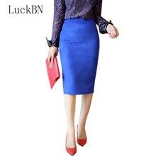 купить Slim Sexy Women Skirts Spring Autumn Skirt Faux Suede Lady Soft Split Stretchy Bodycon Knee Length Pencil Skirt High Waist дешево