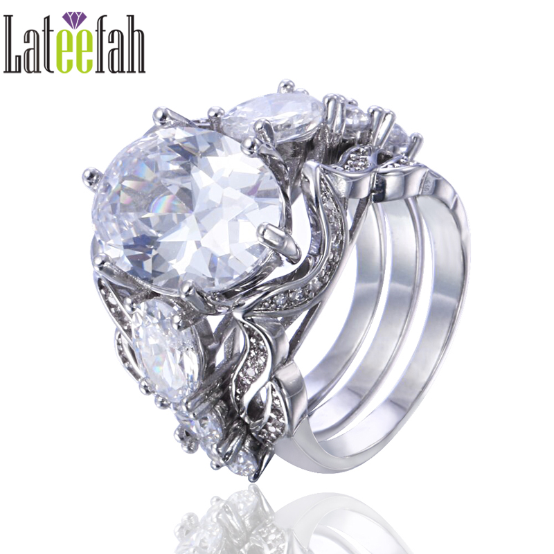 lateefah luxury engagement wedding rings set for women large stone oval cubic zirconia white gold color - Large Wedding Rings